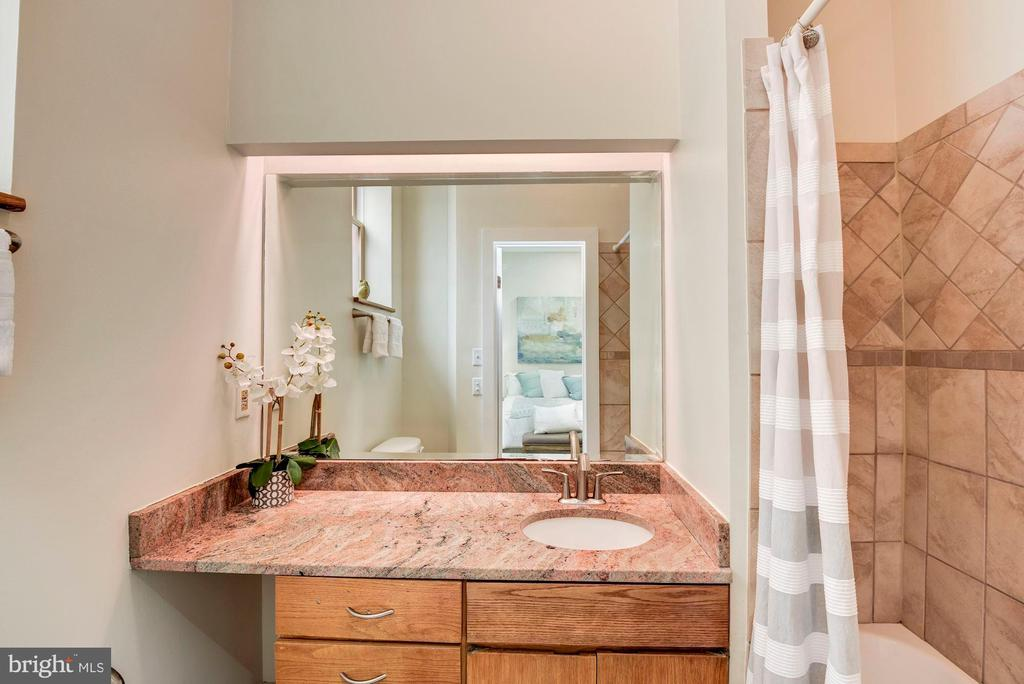 Master bath with ceramic shower and granite vanity - 1731 T ST NW #2, WASHINGTON
