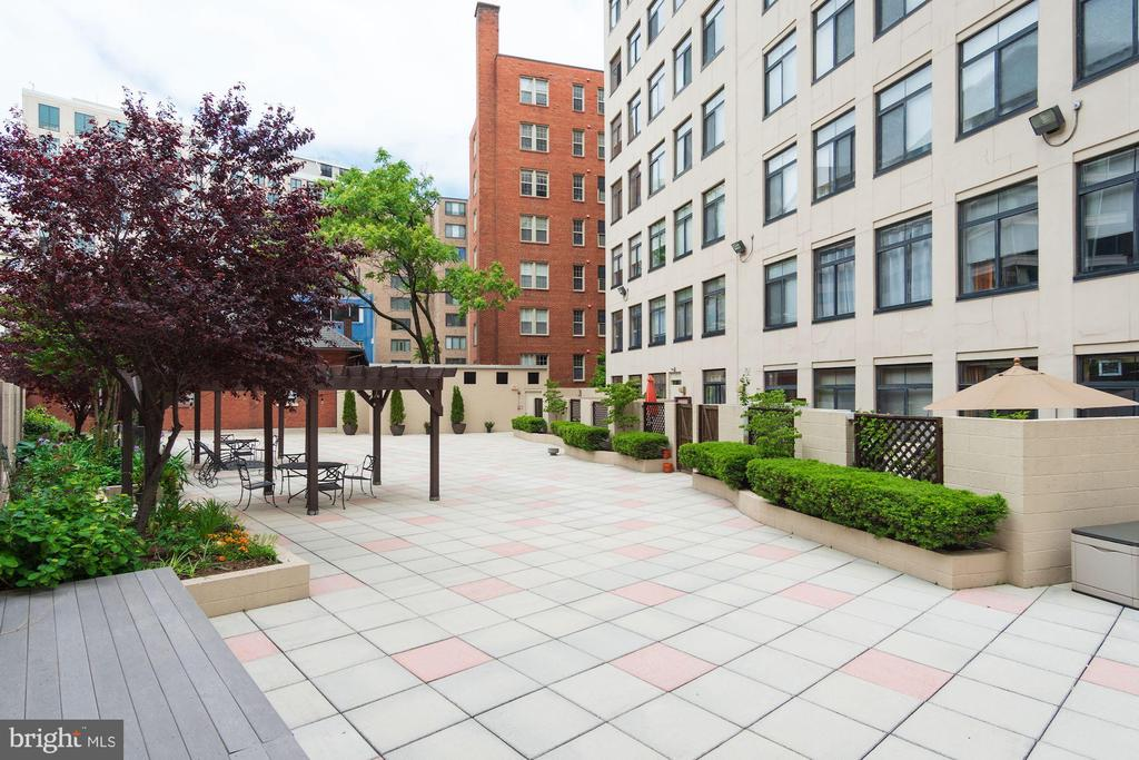 Community terrace with mature trees and gardens - 1312 MASSACHUSETTS AVE NW #109, WASHINGTON