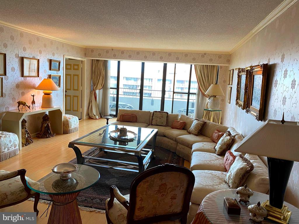 Living room and front balcony - 1300 CRYSTAL DR #1306S, ARLINGTON