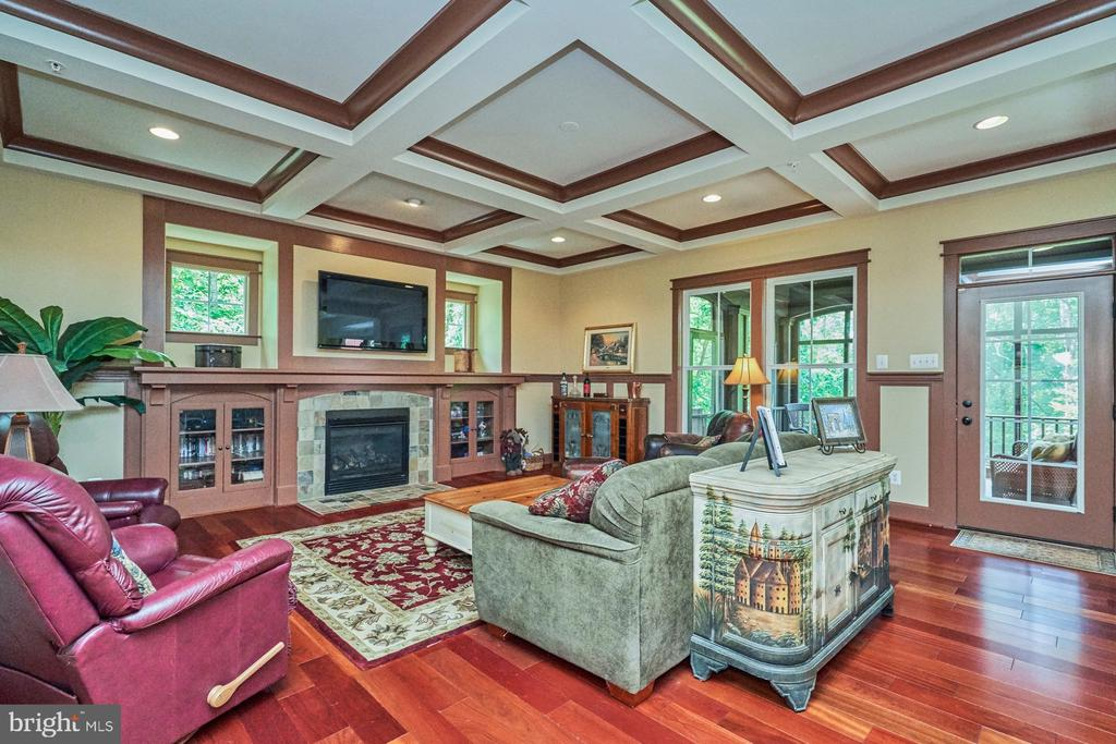 Family Room w/Coffered Ceilings  & Gas Fireplace - 14428 EAGLE ISLAND CT, GAINESVILLE