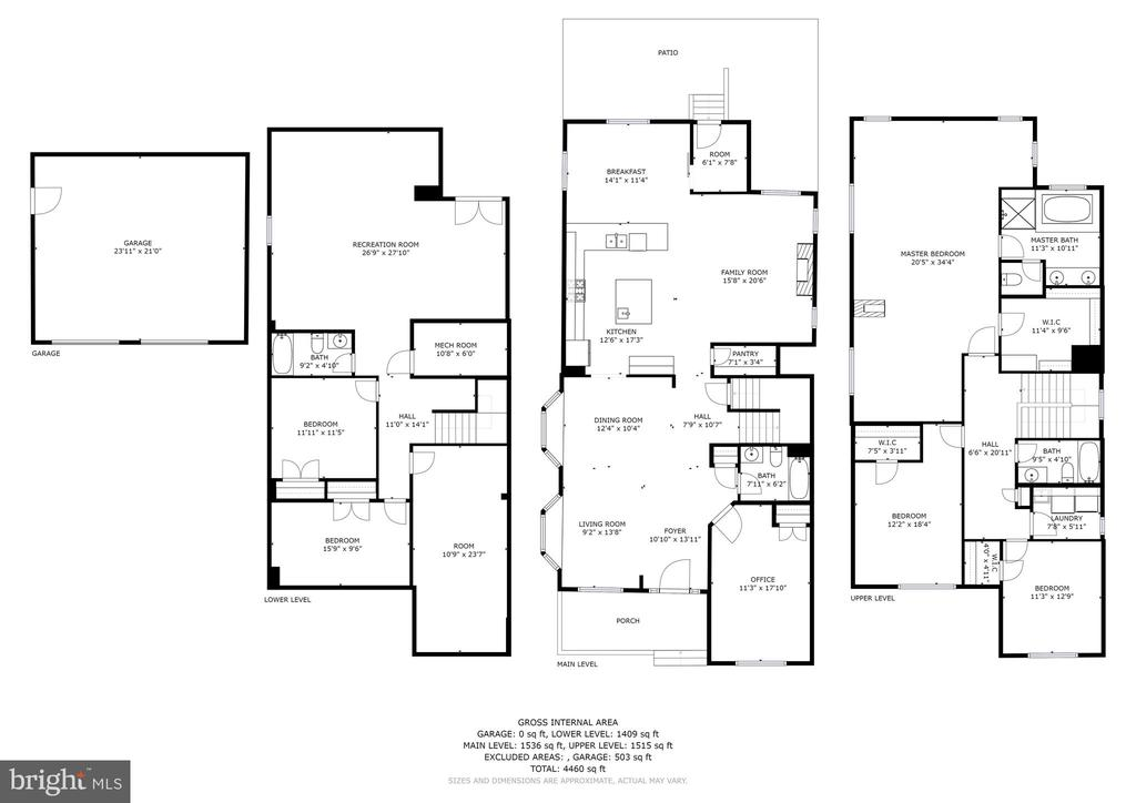 Floor Plan - 3 Levels of Home & Oversized Garage - 3801 WASHINGTON BLVD, ARLINGTON