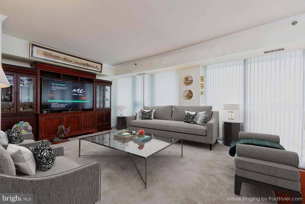Transitional Virtual Styling of Living Room - 1200 CRYSTAL DRIVE #1413-1414, ARLINGTON