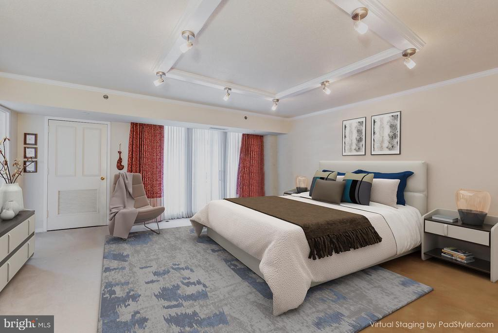 Transitional Virtual Styling of Master Bedroom - 1200 CRYSTAL DRIVE #1413-1414, ARLINGTON