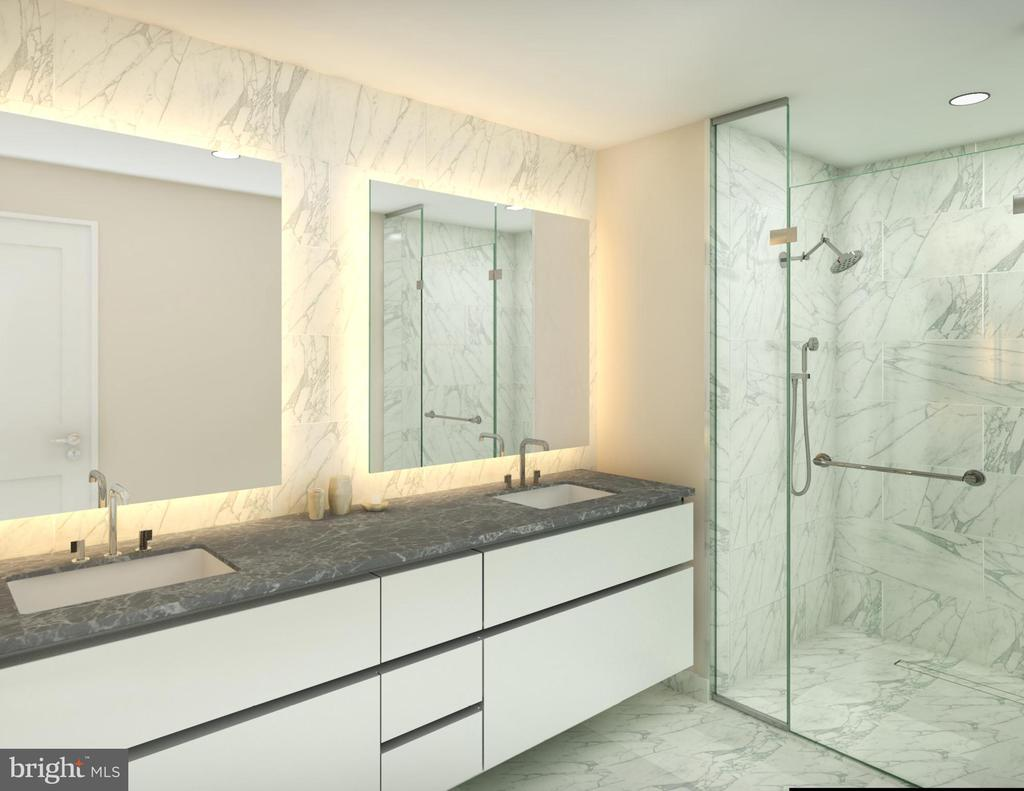 Master baths with heated flooring. - 1781 PIERCE ST N #305, ROSSLYN
