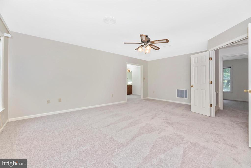 Double doors and ceiling fan in large MBR. - 7799 COBLENTZ RD, MIDDLETOWN