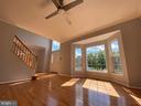 Living room with NEW hardwood flooring & fan light - 6311 WILLOWFIELD WAY, SPRINGFIELD