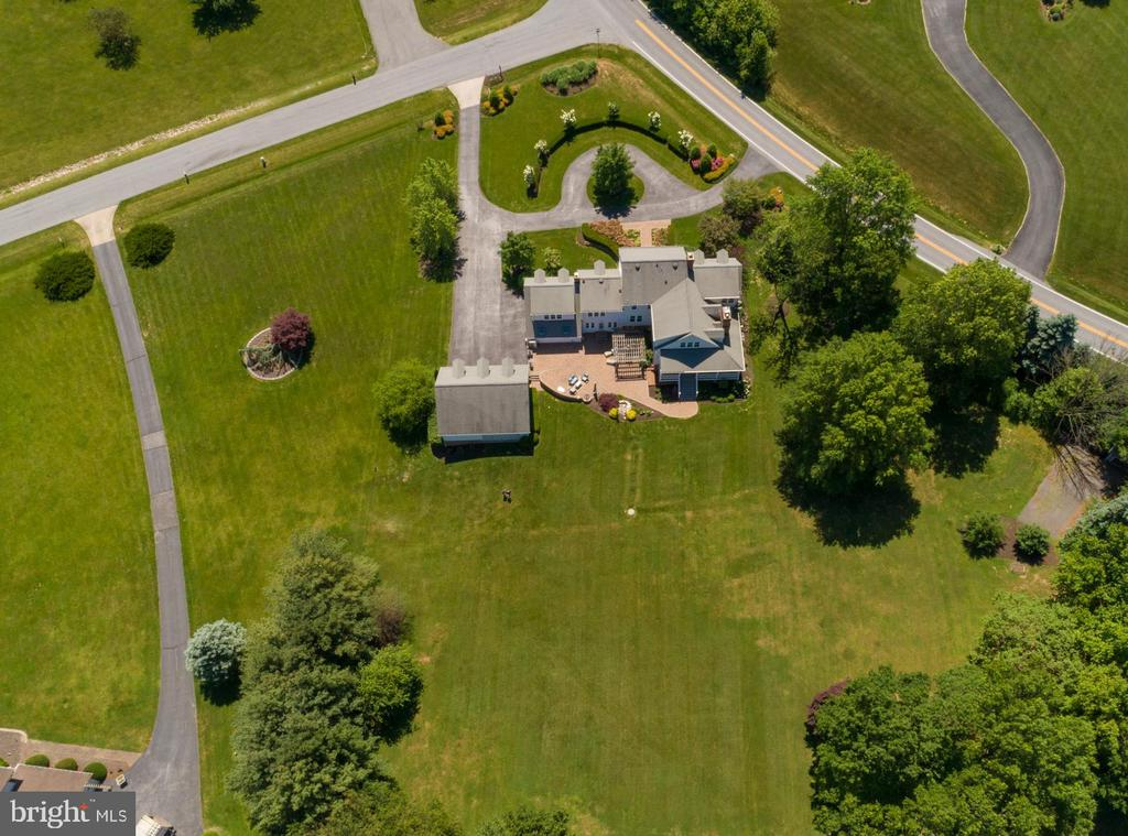 Aerial View of Property shows Circular Driveway - 3842 MOUNT AIRY DR, MOUNT AIRY