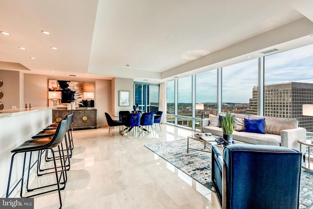sweeping views from the living and dining room - 1881 N NASH ST #1803, ARLINGTON