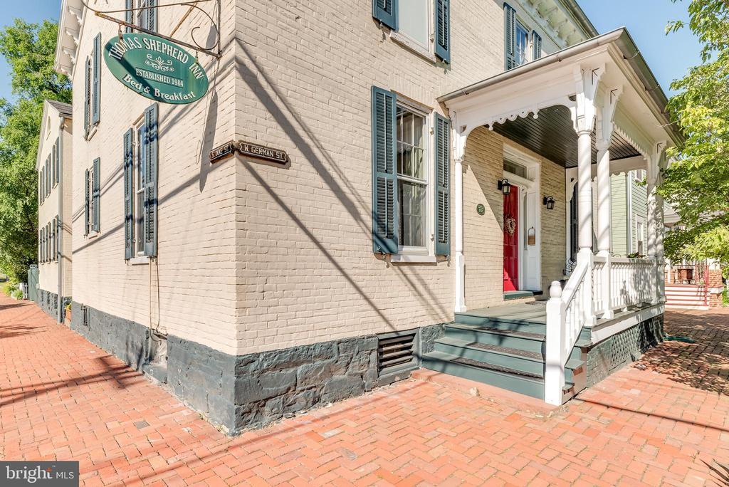 Corner view, front porch entrance to Home - 300 W GERMAN ST, SHEPHERDSTOWN