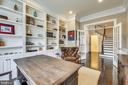 Library with built-in shelving and French doors - 8 BULLARD CIR, ROCKVILLE
