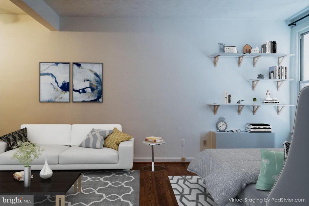 Living area virtually staged - 1300 MASSACHUSETTS AVE NW #205, WASHINGTON