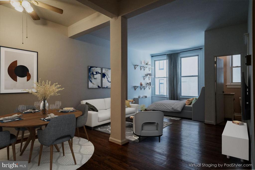 View from entry virtually staged - 1300 MASSACHUSETTS AVE NW #205, WASHINGTON