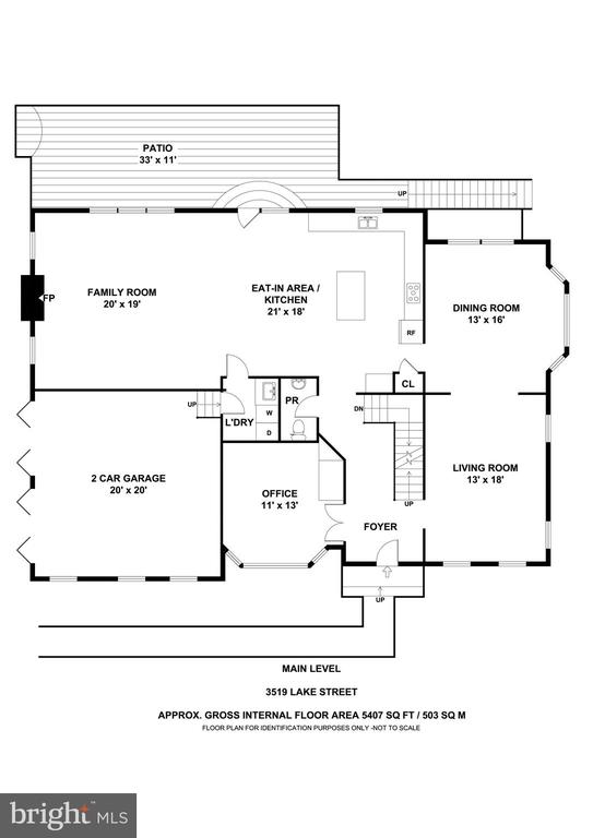 Main Level Floor Plan - 3519 LAKE ST, FALLS CHURCH