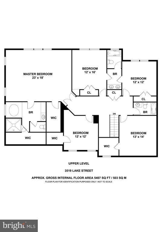 Upper Level Floor Plan - 3519 LAKE ST, FALLS CHURCH