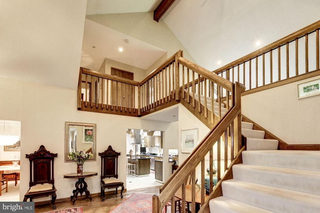 Stairwell to upper level w/gallery overlook - 17007 BARN RIDGE DR, SILVER SPRING