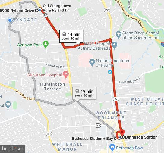 Two bus options to Bethesda Metro - 5900 RYLAND DR, BETHESDA