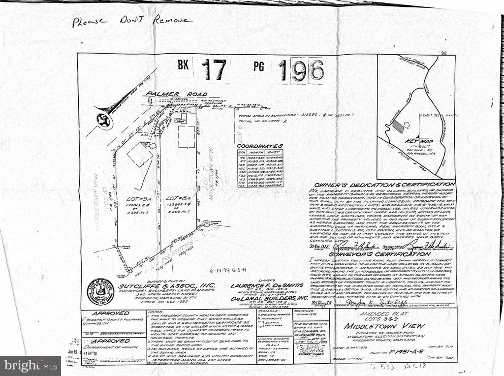Map of the lot and the house with workshop/garage - 8303 PALMER RD, MIDDLETOWN