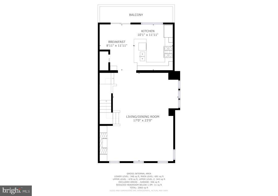 Second floor plan of kitchen, dining and living - 1330 N ADAMS CT, ARLINGTON