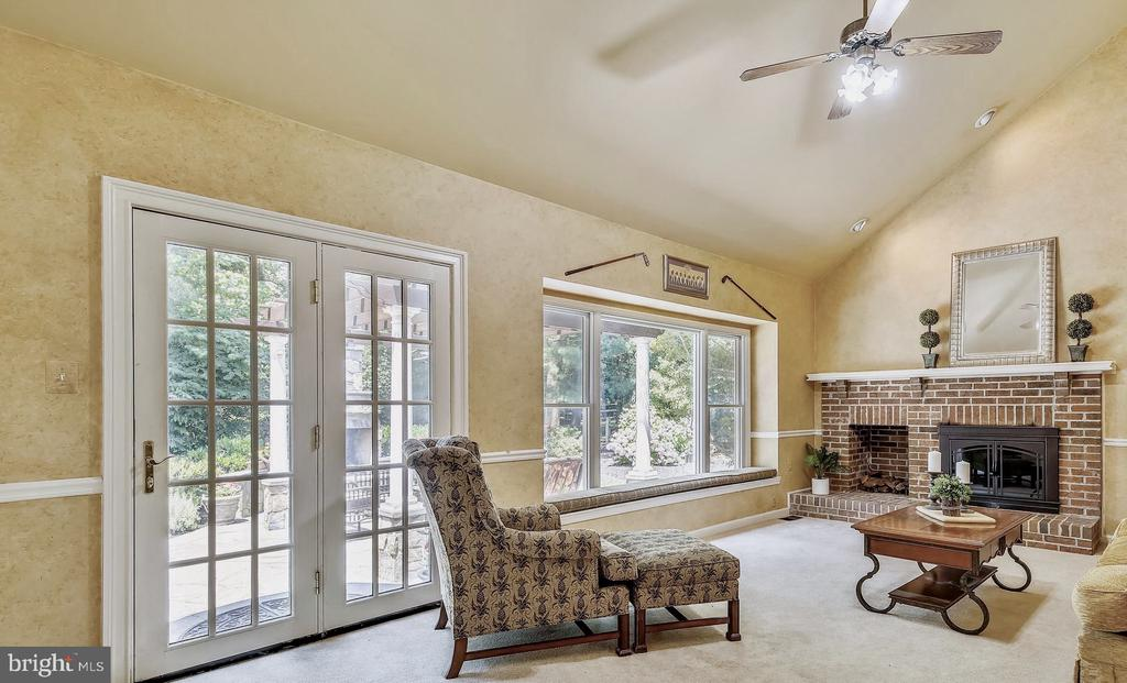 family Room:  Wood Burning Fireplace and a View - 2877 FRANKLIN OAKS DR, HERNDON