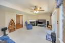 Lower level family room with corner gas fireplace - 106 CONFEDERATE CIR, LOCUST GROVE