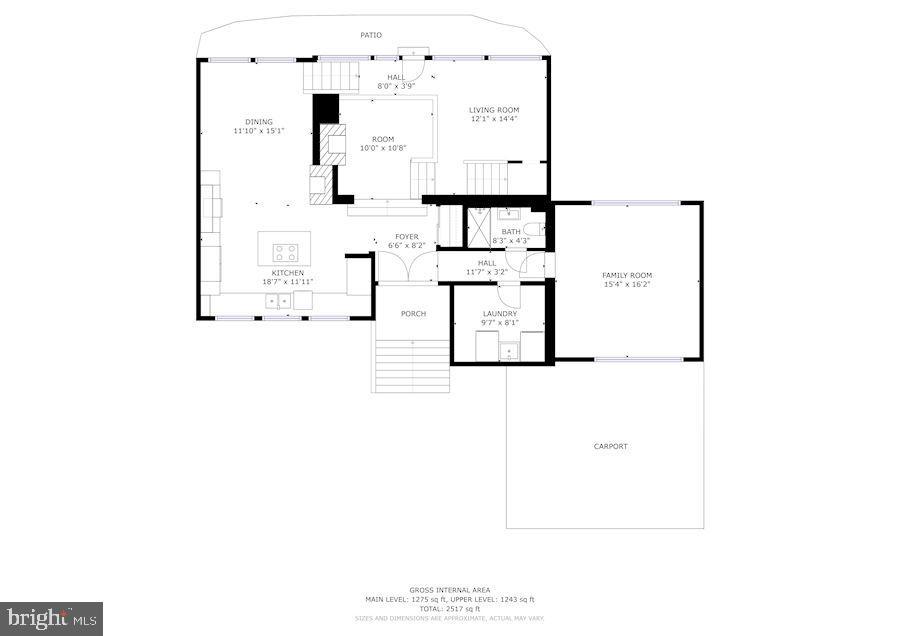 Main Level Floor Plan - 3421 STONEYBRAE DR, FALLS CHURCH