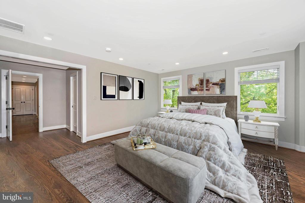 VIRTUALLY STAGED MASTER  BEDROOM VIEW 2 - 5606 FOREST PL, BETHESDA