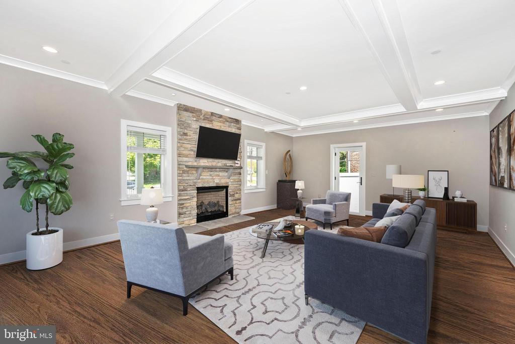 VIRTUALLY STAGED GREAT ROOM W/ STONE FP - 5606 FOREST PL, BETHESDA