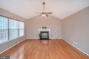 Family room with vaulted ceilings/gas fireplace - 6 BRANTFORD DR, STAFFORD
