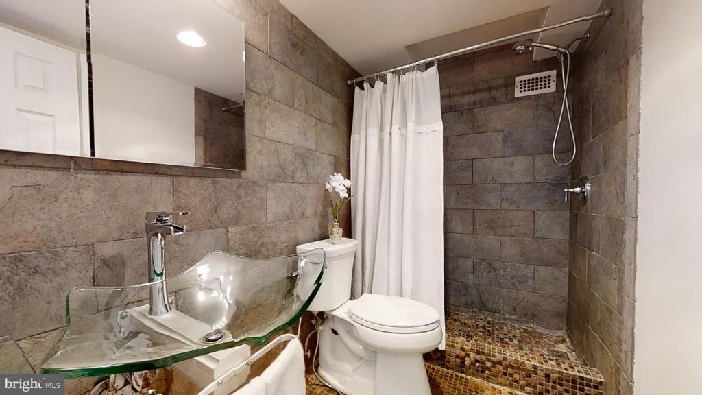 Updated bath with custom sink and tile shower - 1300 ARMY NAVY DR #907, ARLINGTON