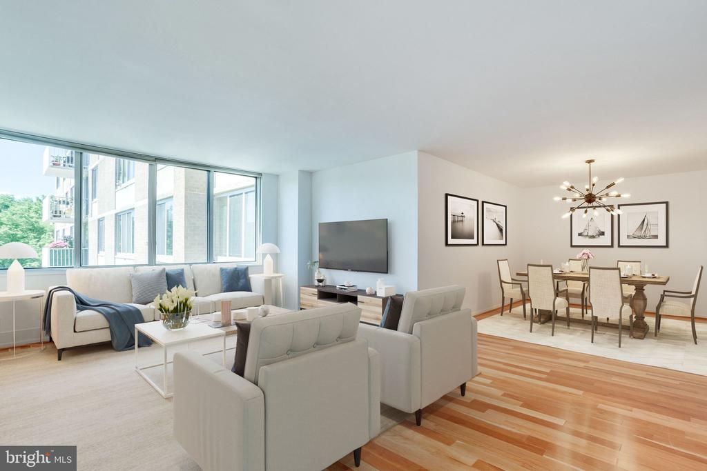 Open plan - Living and Dining (virtually staged) - 2939 VAN NESS ST NW #1017, WASHINGTON