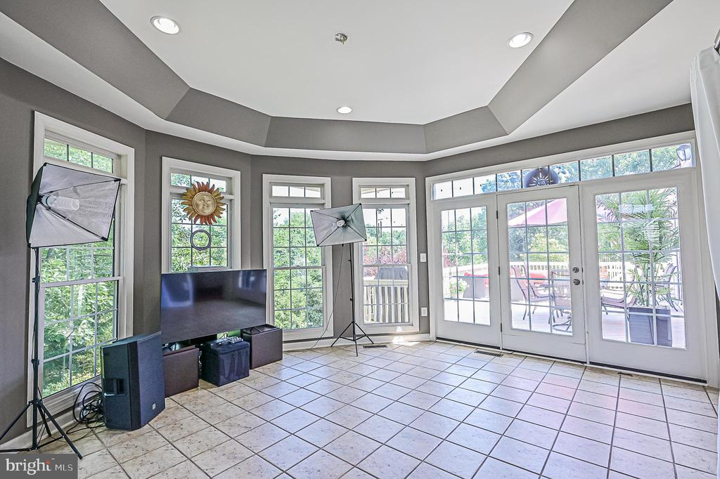 Glass Doors to Rear Deck in Sunroom - 26124 TALAMORE DR, CHANTILLY