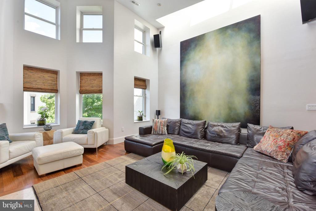 Double Height Living Room with Custom Skylight - 1744 WILLARD ST NW, WASHINGTON