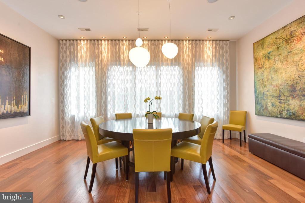 Wall of windows flood Dining Room with light - 1744 WILLARD ST NW, WASHINGTON