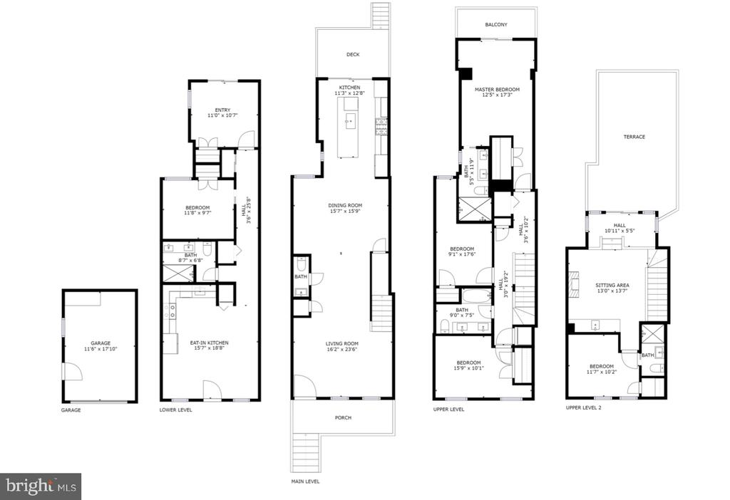 Floor plan for garage & 4 levels, over 3,400 sq ft - 50 BRYANT ST NW, WASHINGTON