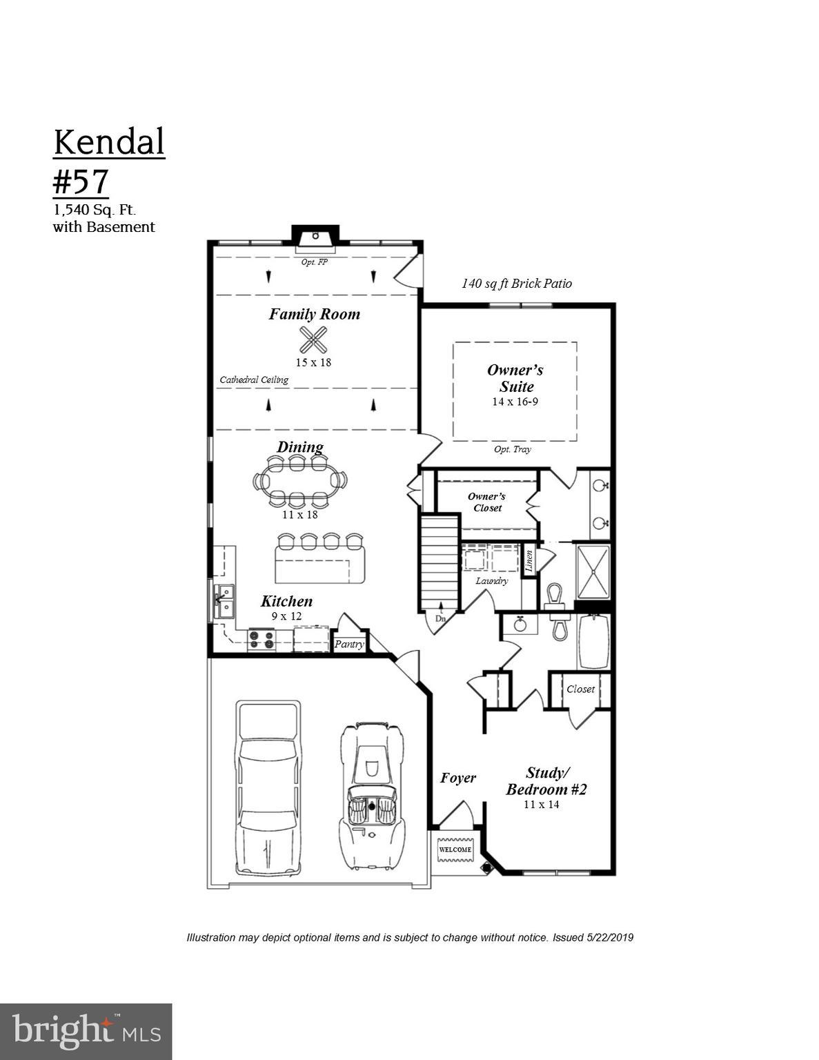 Brochure plan.  Kendal #3 is an interior home.