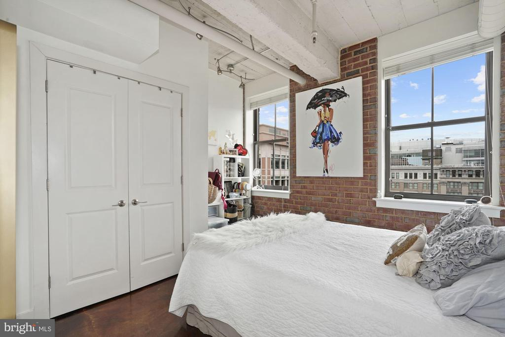 Bright 2nd Bedroom with an exposed brick wall. - 916 G ST NW #1004, WASHINGTON