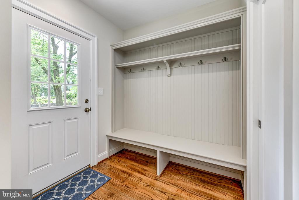 Mud room with side entrance, custom carpentry - 4401 GARRISON ST NW, WASHINGTON
