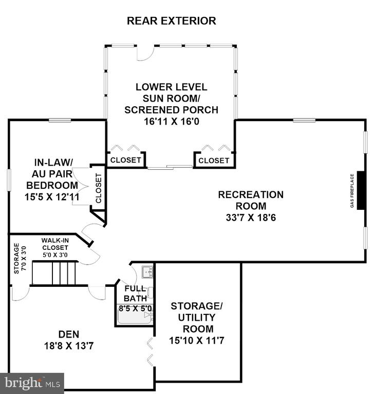 Lower Level Floor Plan (Dimensions Approximate) - 3810 COLONIAL AVE, ALEXANDRIA