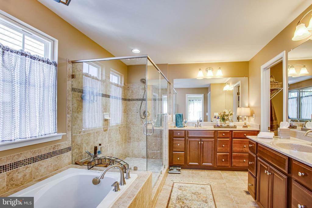 Master bath with frameless shower - 52 WAGONEERS LN, STAFFORD