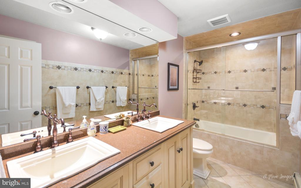 Updated hall bath with newer tile and double sink - 10095 DUDLEY DR, IJAMSVILLE