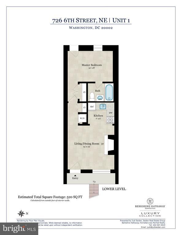 One Bedroom Lower Unit Floor Plan - 726 6TH ST NE, WASHINGTON