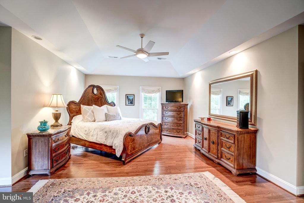 Master bedroom with ceiling fan - 9318 LUDGATE DR, ALEXANDRIA