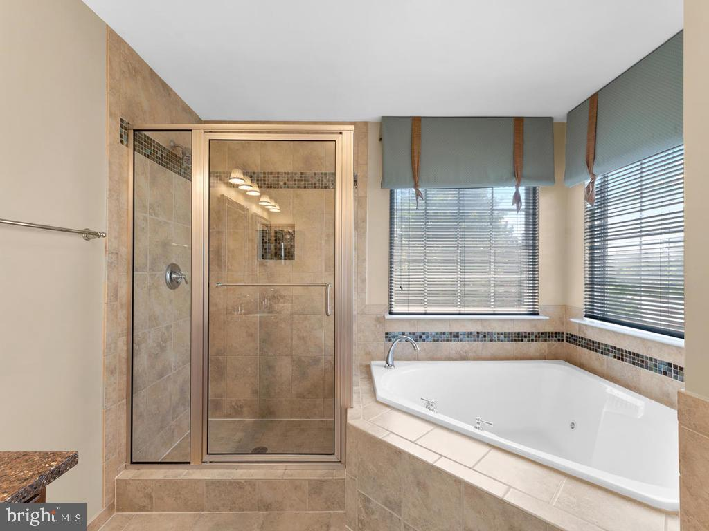 Tile floor & shower, glass door, Jacuzzi jetted tu - 358 SUGARLAND MEADOW DR, HERNDON