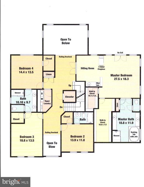 Upper Level Floor Plan - 9600 THISTLE RIDGE LN, VIENNA