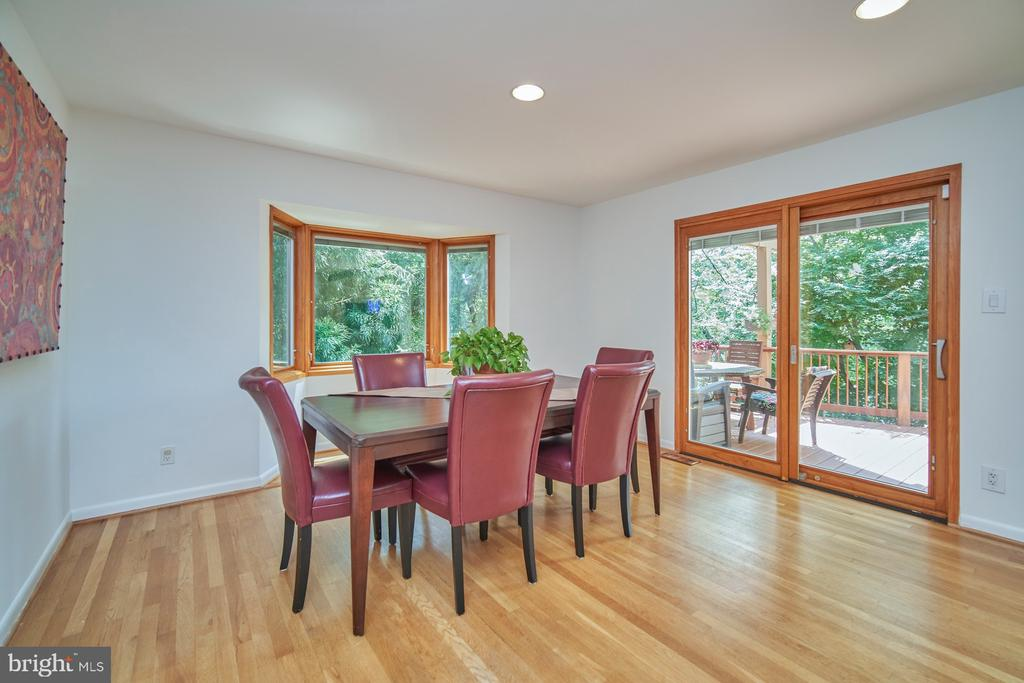 Dining Room framed by Pella Sliding Glass Doors - 1406 N JOHNSON ST, ARLINGTON