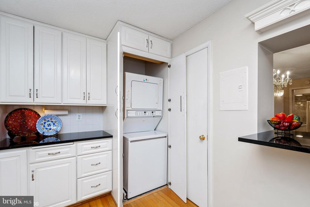 Stacked washer/dryer are in their own cabinet - 5902 MOUNT EAGLE DR #609, ALEXANDRIA