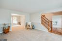 Main-level Living Room w/open stair case - 5 GREYSTONE PL, STAFFORD