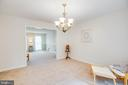Main-level Dining Room w/new high-end chandelier - 5 GREYSTONE PL, STAFFORD