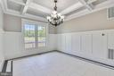 Coffered ceiling in dining with wainscotting - 14612 BRISTOW RD, MANASSAS