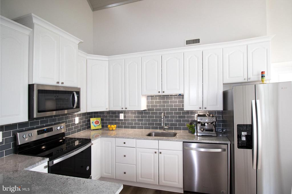 Granite counters, glass tile, LED under cab light - 5678 WATERLOO RD, COLUMBIA